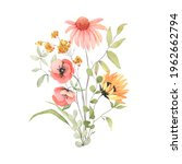 Floral Card With Bouquet Of...