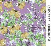 poppies and summer purple... | Shutterstock . vector #196273574