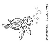 cute little sea turtle outlined ... | Shutterstock .eps vector #1962787951