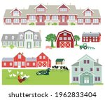 farm houses and country houses  ... | Shutterstock .eps vector #1962833404