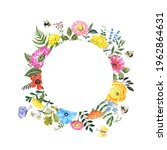 Beautiful Floral Round Frame...
