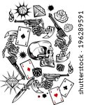 skulls with playing cards and... | Shutterstock .eps vector #196289591
