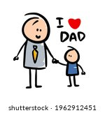 doodle family of dad and son in ... | Shutterstock .eps vector #1962912451