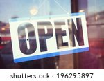 open for business sign shot... | Shutterstock . vector #196295897