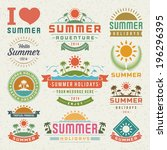 summer design elements and... | Shutterstock .eps vector #196296395