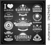 summer design elements and... | Shutterstock .eps vector #196296401