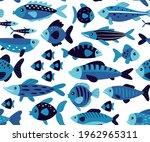 cute fish seamless pattern.... | Shutterstock .eps vector #1962965311