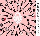 ornate lock and keys. cartoon... | Shutterstock .eps vector #1963025254