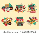 retro 90s labels. colored...   Shutterstock .eps vector #1963033294