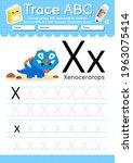 alphabet tracing worksheet with ... | Shutterstock .eps vector #1963075414