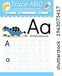 alphabet tracing worksheet with ... | Shutterstock .eps vector #1963075417