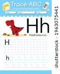 alphabet tracing worksheet with ... | Shutterstock .eps vector #1963075441