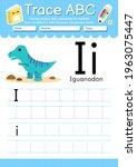 alphabet tracing worksheet with ... | Shutterstock .eps vector #1963075447
