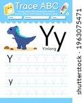 alphabet tracing worksheet with ... | Shutterstock .eps vector #1963075471