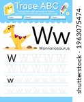 alphabet tracing worksheet with ... | Shutterstock .eps vector #1963075474