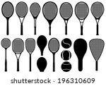 set of different tennis rackets ... | Shutterstock .eps vector #196310609