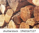 Firewood Stack In Winter Close...