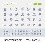 savings   finance icons.... | Shutterstock .eps vector #196316981