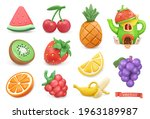 sweet fruits icon set.... | Shutterstock .eps vector #1963189987