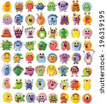 cartoon cute monsters and... | Shutterstock .eps vector #196319195