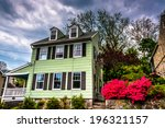 Old House And Azalea Bushes In...