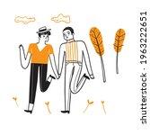homosexual couples celebrating...   Shutterstock .eps vector #1963222651