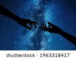 reaching hands. hand gesture... | Shutterstock .eps vector #1963318417