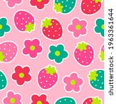 cute hand drawn strawberry and... | Shutterstock .eps vector #1963361644