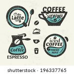 set of coffee labels | Shutterstock .eps vector #196337765