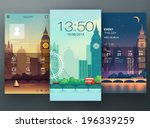 Mobile interface wallpaper design with cityscape. Vector - stock vector