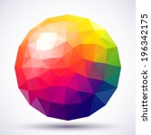 abstract low poly sphere. | Shutterstock .eps vector #196342175