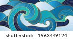 navy blue gold abstract wave... | Shutterstock .eps vector #1963449124