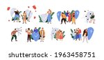set of people with shields... | Shutterstock .eps vector #1963458751