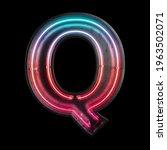 neon light alphabet q with...   Shutterstock . vector #1963502071