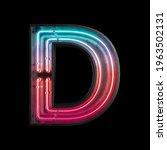 neon light alphabet d with...   Shutterstock . vector #1963502131