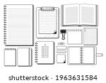 set of hand drawn stationery... | Shutterstock .eps vector #1963631584