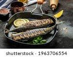 Small photo of Japan dish mackerel fish with lemon, Scomber roast, Mackerel roast, blue mackerel roast, Japanese mackerel roast.
