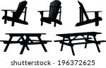 adirondack,chair,collection,furniture,illustration,muskoka,object,outdoor,picnic,set,silhouette,table,vector