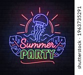 neon sign summer party with...   Shutterstock .eps vector #1963735291