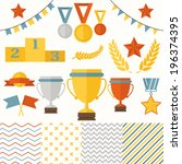 trophy and winners icons set.... | Shutterstock .eps vector #196374395