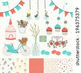 bright set for wedding design.... | Shutterstock .eps vector #196375379