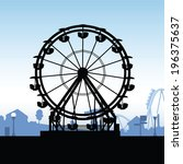 silhouette of a ferris wheel at ... | Shutterstock .eps vector #196375637