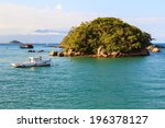 island boat sea mountains... | Shutterstock . vector #196378127