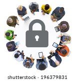 Multiethnic People Using Digital Devices with Security Symbol - stock photo