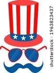 american hat top hat flat... | Shutterstock .eps vector #1963823437