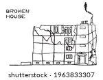 destroyed home  broken house... | Shutterstock .eps vector #1963833307