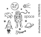 space vector black and white... | Shutterstock .eps vector #196385531