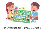 kids playing board game... | Shutterstock .eps vector #1963867057