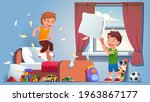 pillow fight at boys room. two...   Shutterstock .eps vector #1963867177