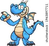 blue dragon cartoon character... | Shutterstock .eps vector #1963897711